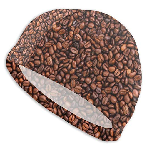 Swim Caps for Men & Womens Long Hair - Coffee Beans Texture Adults Comfortable Fit with Long Curly Hair Braids Dreadlocks