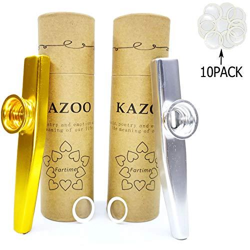Fartime Gold Exquisite Aluminiumlegierung Kazoo mit 5 Kazoo Flöten Membranen und einer schönen Geschenk-Box gold/silber