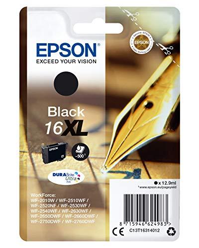 Epson Original 16XL Tinte Füller (WF-2630WF WF-2650DWF WF-2660DWF WF-2750DWF WF-2760DWF, Amazon Dash Replenishment-fähig) schwarz