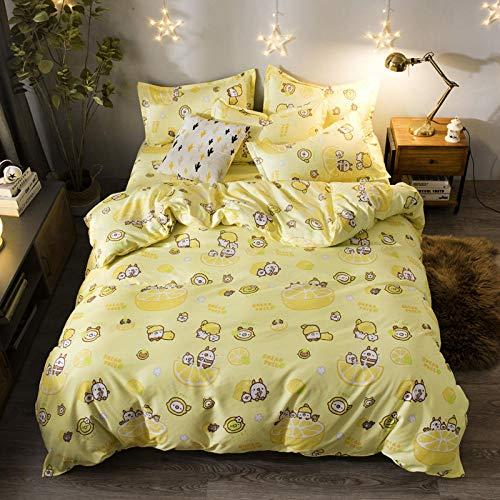 Duvet Cover King Size, Cartoon Pig Yellow Duvet Cover, Household Hypoallergenic Bedding Set,180X220Cm