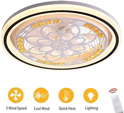 Deckenventilator Beleuchtung, Leuchtmittel LED-Ventilator mit Fernbedienung, Moderne Deckenleuchte Dimmbare, Lampe Ventilator Esszimmer, rund, (Color : Round)