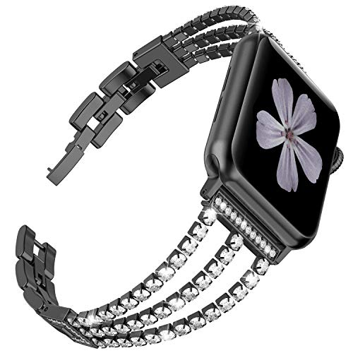 Ownaco Kompatibel für Apple Watch 5 Armband 44mm und 42mm Rose Gold Rostfreier Edelstahl Watch Ersatzband Glitzert Armbänder für iWatch/Apple Watch Serie 5/4/3/2/1 (42mm 44mm, Schwarz)