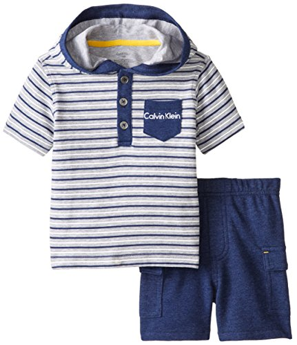 Calvin Klein Baby Boys' Stripes Short Sleeve Hoody with Cargo Shorts, Navy, 12 Months