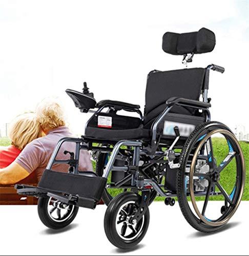 RDJM Leichte Faltbare Elektro-Rollstuhl Faltbare elektrisch betriebene, beweglicher faltenden Mobilität Leistungs Stuhl, Verstellbare Kopfstütze Armauflage, Fußpedal