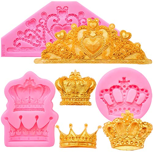 3 Pieces Crown Fondant Silicone Molds Princess Crown Fondant Cake Molds Crown Heart Mold for Sugar Chocolate Mold Wedding Cake Decoration Tools, Cupcake Topper Pastry Jewelry Clay Decoration