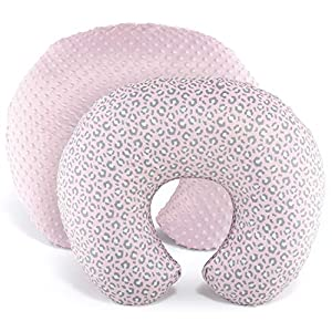 The Peanutshell Nursing Pillow Cover Set for Baby Girls | Pink Leopard & Minky Dot | 2 Pack