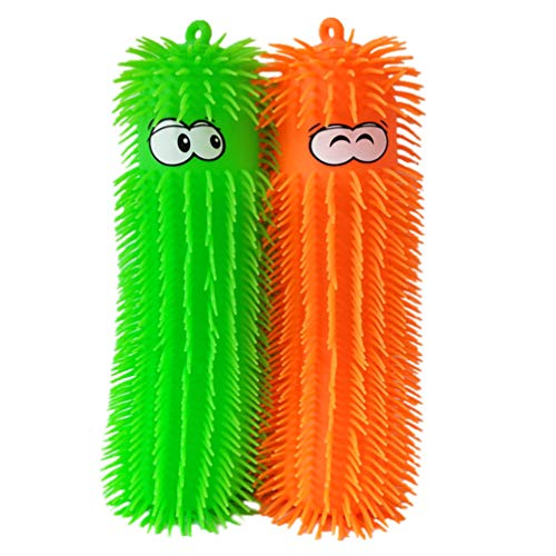 NUOBESTY 2pcs Caterpillar Puffer Toys Puffer Worms Light up Puffer Ball Sensory Squeeze Ball Gifts for Kids Adults New Year Birthday Party Favors (Random Color)