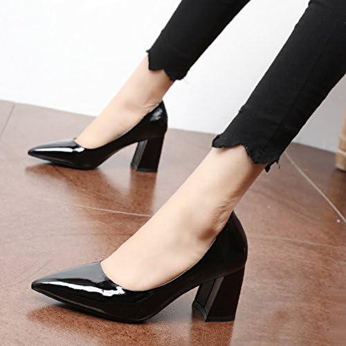 Xue Qiqi Court Schuhe Einzelne Schuhe einfache Spitze Licht - dick mit hochhackigen Schuhe stylisch bemalte Leder Damen Schuhe