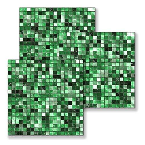 GuoQiang Zhou Adhesivo para azulejos de mosaico verde, autoadhesivo, para cocina, baño, decoración del hogar, antiagua, moderno, de vinilo, 10 CS (color: verde, tamaño: 15 x 15 cm)