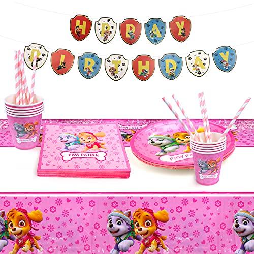 Gxhong Juego de vajilla para fiesta de cumpleaños, 52 piezas, diseño de la Patrulla Canina