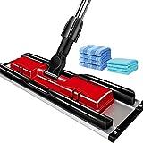 Sistema de limpieza del piso Sistema de mopa de microfibra de limpieza de suelos - lavable pad perfecto limpiador for madera, laminados y Azulejos - 360 seco Seco reutilizables polvo fregonas, con 4 c