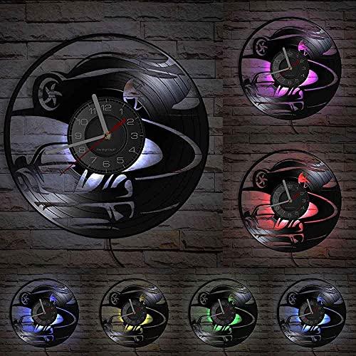 GVSPMOND Alta Velocidad Super Car Drift LP Reloj de Pared Garaje Vinilo Montaje en Pared Reloj Drift Racer Obra de Arte