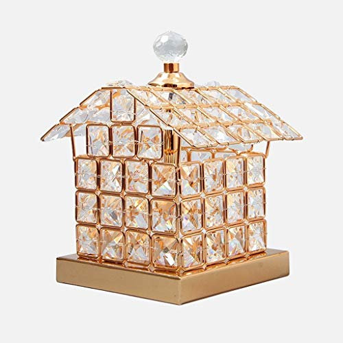 WEI-LUONG Lámparas de Mesa, Personalidad Simple de la Personalidad Creativa Living Luces del Dormitorio de la lámpara de Cristal, Casa hogar Creativo de Plata Lectura luz de la Noche, Oro LED