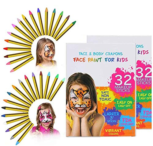 ThinkMax 64 Pcs Face Paint Crayons for Kids, 32 Colors Face Painting Kit, Safe & Non-Toxic Face Body Crayons, Great for Easter, Halloween, Birthday, School Party