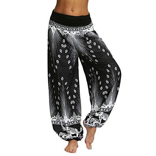 Nuofengkudu Damen Thai Hippie Hosen Haremshosen Baggy Yogahosen Leichte Boho Print Pluderhose High Waist Pumphose Strandhose (Schwarz B,S)