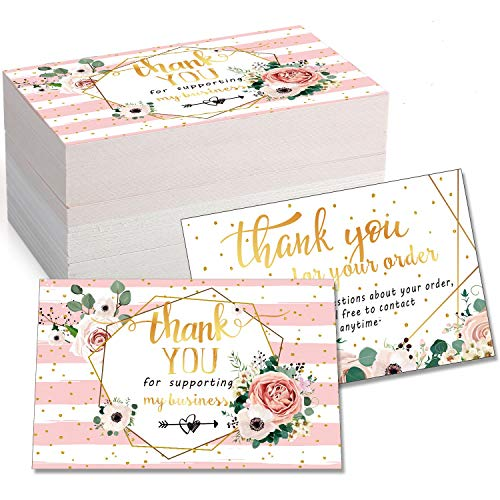 120 Mini Thank You for Your Order Business Cards Shopping Purchase Thanks Greeting Cards to Customer, Floral Design Appreciation Cards for Small Business Owners Sellers, 3.5 x 2 Inch