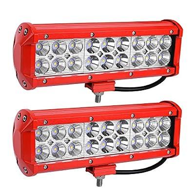 YITAMOTOR LED Light Bar Red 2Pack 54W 9inch LED Work Light Spot Flood Combo Offroad Driving Fog Pod Lights Waterproof ATV 4X4 4WD Pickup Truck Golf Cart Boat 12V, 2 Years Warranty