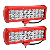 LED Light Bar YITAMOTOR Red 2Pack 54W 9inch LED Work Light Spot Flood Combo Offroad Driving Fog Pod Lights Waterproof ATV 4X4 4WD Pickup Truck Golf Cart Boat 12V, 2 Years Warranty