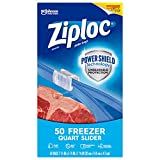 Ziploc Brand Slider Freezer Quart Bags with Power Shield Technology, 50 Count, Pack of 2 (100 Total Bags)