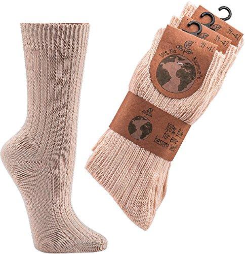socksPur SOCKS PUR BIO BAUMWOLL SOCKEN FÜR SIE und IHN 3er PACK (39/42, natur 100 Bio Baumwolle)