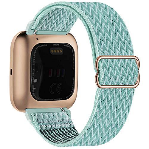 Fengyiyuda Elástico Nylon Correa de Reloj Compatible con Fitbit Versa 2/Versa/Versa Lite/Versa SE,Bandas Suaves para Relojes Inteligentes, Seporte Hebillas Ajustables,correas de repuesto,Marine Green