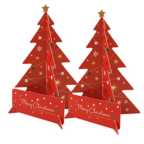 Amosfun 2 Set Christmas Tree Cards Pop Up Greeting Cards 3D Holiday Postcards Gifts Merry Christmas Xmas Thank You Cards