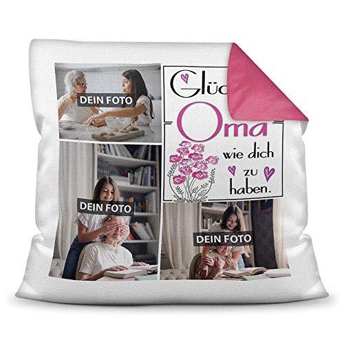 Print Royal Foto-Kissen inkl. Füllung zum Selbstgestalten - für Oma - mit eigener Collage und Spruch - Bestes Fotogeschenk / Geburtstagsgeschenk - Farbkissen Rückseite Pink