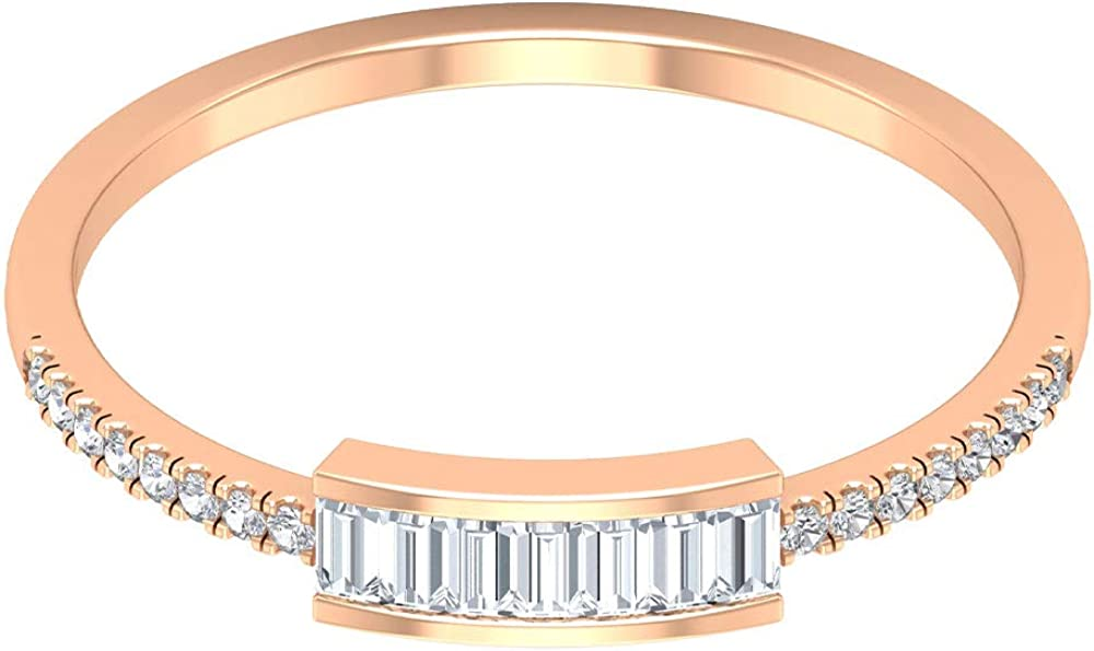 1 4 CT Diamond Stackable Rings Baguette Weekly update Women National products MM for 1.25X2.2 C