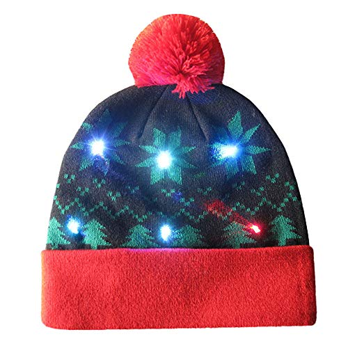 MONISE LED Flashing Holiday Knitted Hat Light up Blinking Beanie Ugly Sweater Holiday Xmas Christmas Beanie Hat Cap Best Presents for Men Women Black