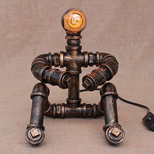 CNCDRS Nostálgico Steampunk lámpara de mesa de luz Robot pensadores Industrial Water Pipe lámpara de escritorio ahorro de energía lámparas de escritorio 1-Light Café Vintage barra de la decoración Tie