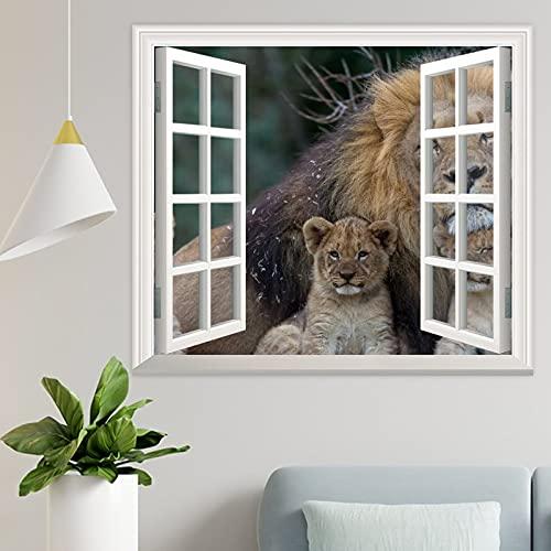 DKISEE Wpw214 - Adhesivo decorativo para pared, diseño de leones con texto en inglés
