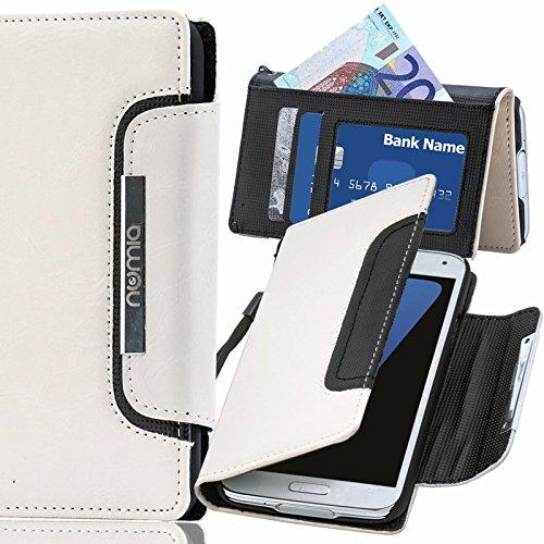 numia Motorola Nexus 6 Hülle, Handyhülle Handy Schutzhülle [Book-Style Handytasche mit Standfunktion und Kartenfach] Pu Leder Tasche für Motorola Nexus 6 Case Cover [Weiss-Schwarz]