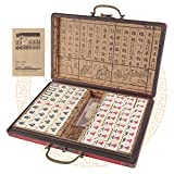 Chinese 144 Tiles Mahjong Set 0.71 ' Easy-to-Read Game Set Travel Mahjong Set Portable Size and Light Weight
