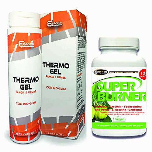 Super Burner Super Quemador adelgazante Fatburner 120 pastillas para pérdida de peso, termo para pérdida de peso, suplemento de apetito, crema térmica térmica, gel térmico, 200 ml