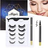 Magic Eyelashes with Eyeliner Kit - 5 Pairs Reusable 3D Natural Look False Eyelashes with Self-adhesive Liquid Black Eyeliner and Tweezers for Women and Girls