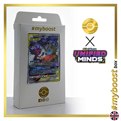 Mega Sableye & Tyranitar-GX (Mega Sableye e Tyranitar-GX) 226/236 Full Art Alternativa - #myboost X Sun & Moon 11 Unified Minds - Box di 10 Carte Pokémon Inglesi