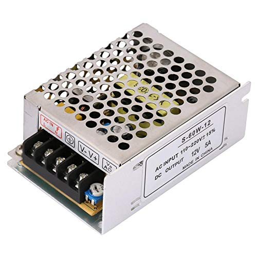 Keenso Universal Geregelter Schalternetzteil 5A 12V AC/DC-Spannungswandler Geregelter Transformator Schaltnetzteil-Treiber für LED