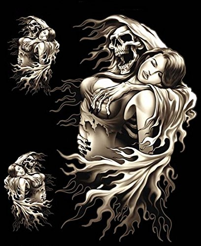 Hells-Design 3Pegatinas de Calavera Segadora Lady