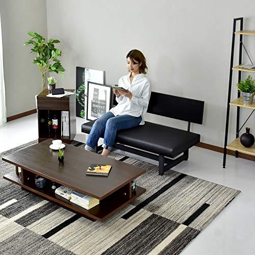 DORISソファー2人掛けベンチベンチソファ幅120cmシンプルデザインレザーブラウンオネスト2P