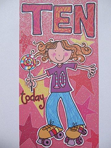 FANTASTISCHE ROLLER SKATES & LOLLY POPS tiener vandaag 10e BIRTHDAY GREETING CARD
