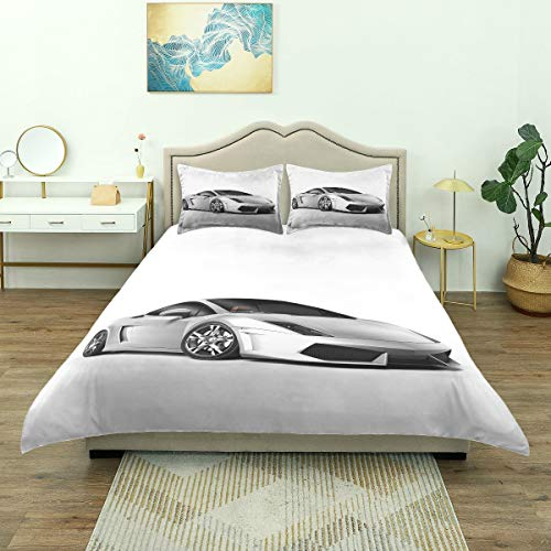 Dodunstyle Duvet Cover,Sports Car Elegance with Futuristic Wheels Reflection Design, Bedding Set Comfy Lightweight Microfiber