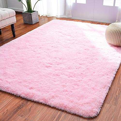 Softlife Ultra Soft Fluffy Area Rugs for Bedroom, Girls and Boys Room Kids Room Nursery Rug, 4 x 5.3 Feet Shaggy Fur Indoor Plush Modern Floor Carpet for Living Room, Pink
