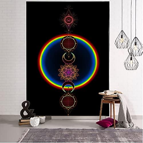 QAWD Dorado Negro Sol Luna Tarot Card Mandala Tapiz Colgante de Pared Brujería Hippie Tapiz Escena psicodélica Tapiz A16 73x95cm