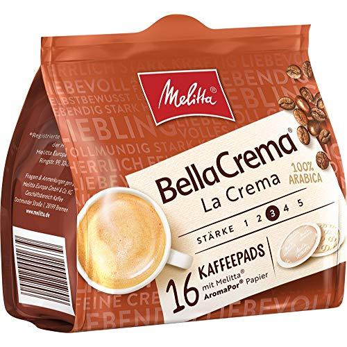 Melitta BellaCrema La Crema, 16 Kaffeepads, Stärke 3, 107g