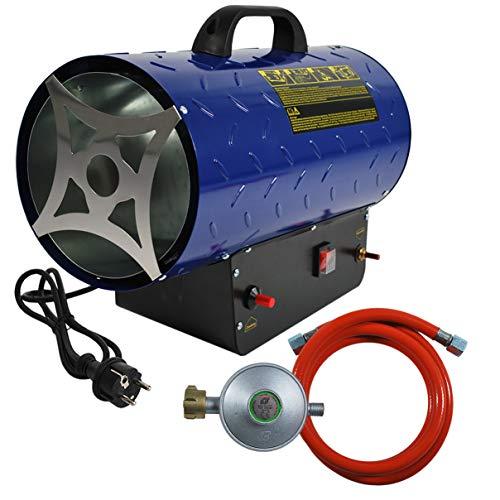 HELO Gasheizer Heizkanone 30 kW mit 650 m³/h Luftdurchsatz Piezozündung und Tragegriff, 700 mbar Arbeitsdruck und 2,18 kg/h Gas Verbrauch, Heißluftgenerator Set inkl. Gasschlauch und Druckminderer