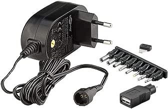 Goobay 59029 - Fuente de alimentación Universal 1500 mAh y 8 enchufes adaptadores más USB, Negro
