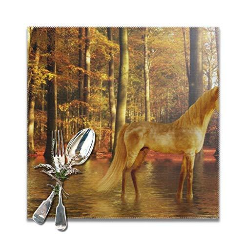 Rterss Paard Eenhoorn Fantasie Samenstellen Dieren Mythische Placemats Placemat Eettafel Wasbaar Zacht En Crême Gratis Tafelmatten (6 St) Gepersonaliseerd