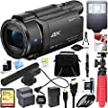Sony FDR-AX53/B 4K Handycam Camcorder w/Mini Zoom Microphone + 64GB SDXC Memory Card + Deluxe Gadget Bag + Corel Paint Shop Pro X9 + Microfiber Cloth + Memory Card Wallet + Card Reader + Tripod+More from Sony