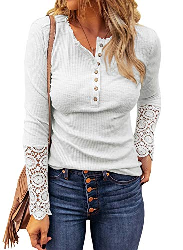 LOLONG Womens Henley V Neck T-Shirt Long Sleeve Lace Button Down Blouse Ribbed Slim-Fit Top White