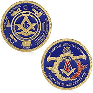 Fmingdou Gold Plated Masonic Brotherhood of Man Commemorative Challenge Coin Collection